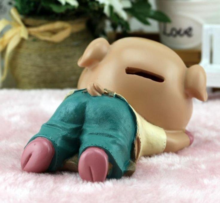 Creative cartoon sleeping pig piggy bank resin //Price: $19.95 & FREE Shipping //     #hashtag4