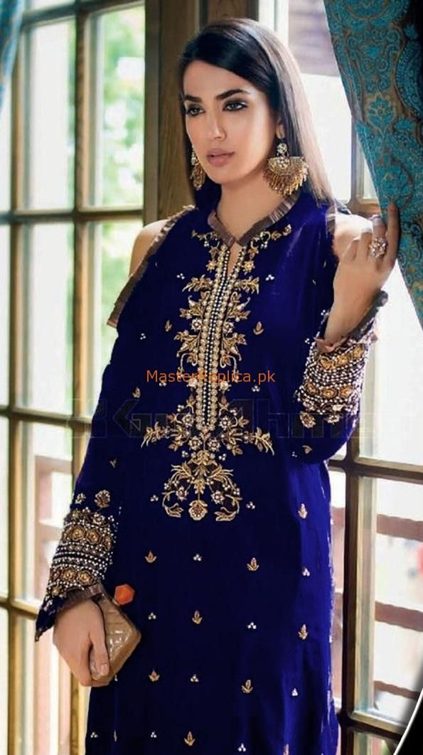 Indian Pakistani Embroidered Velvet Winter Suit SALE