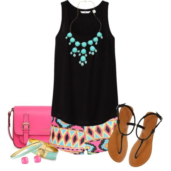 Aztec Shorts, created by qtpiekelso on Polyvore