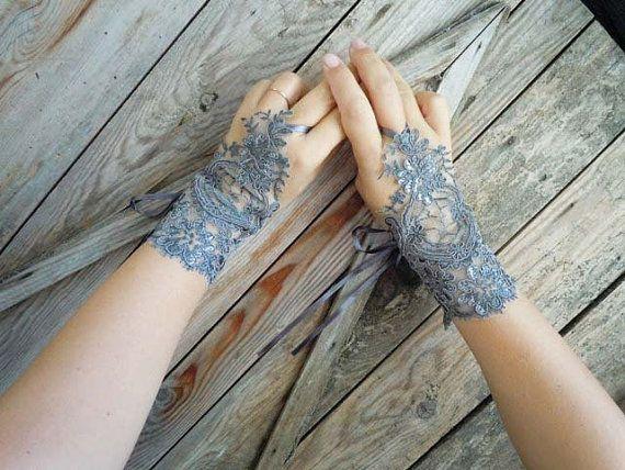 Gray Glove -Gray Wedding Gloves, lace gloves, Fingerless Gloves, grey lace gloves, cuff wedding bride, bridal gloves
