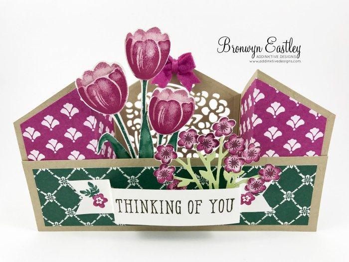 Tranquil Tulips, Window Shopping, Window Box Bridge Fold Card, #addinktivedesigns
