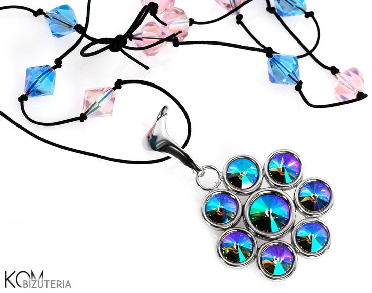 Flower necklace - paradise - Swarovski, silver, beads. Eye-catching, long necklace with flower like silver pendant with sparkling green, blue, violet Swarovski crystals on a black cord with blue and pink sparkling beads interwoven in it.