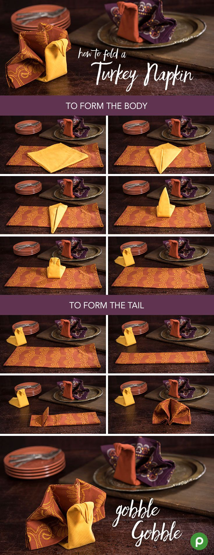 Here's a simple DIY guide to folding the perfect turkey napkins from Publix for your Thanksgiving holiday table. It's great for every table whether you're hosting a formal celebration or keeping it casual.