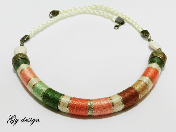 Sylenteri statement necklace handmade /rope by Gydesi on Etsy, $33.00