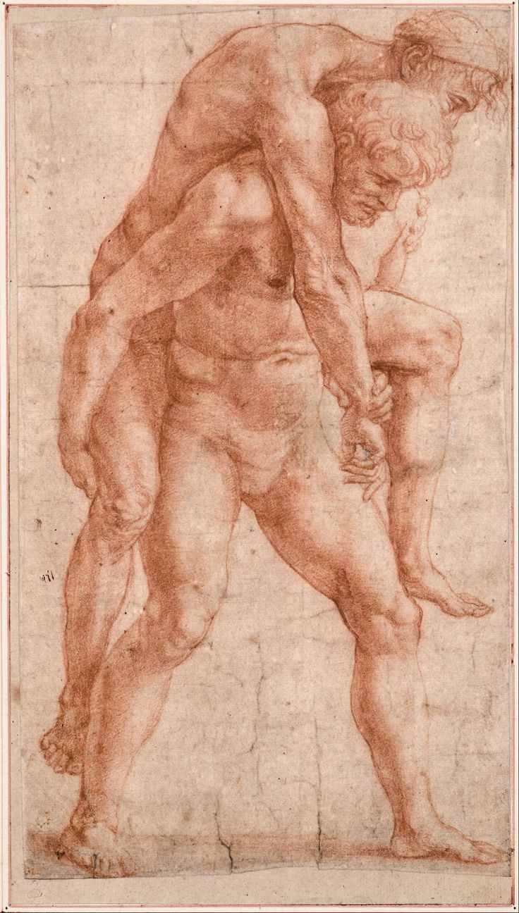 "Raphael (Raffaello Sanzio), 1483-1520, Italian, Aeneas and Anchises figure study for the ""Fire in the Borgo"", c.1515. Red chalk, 30 x 17 cm. Albertina, Vienna. High Renaissance"