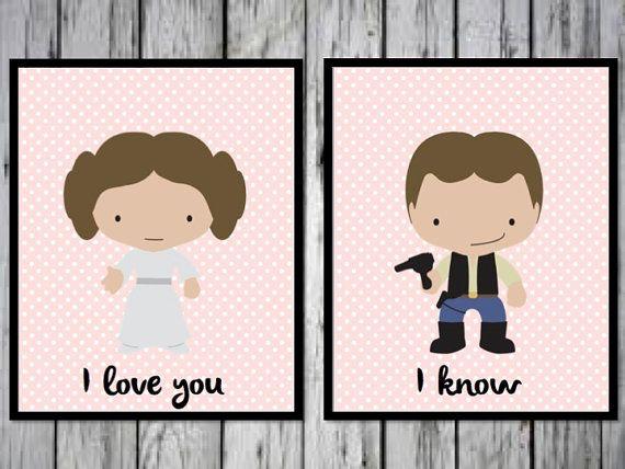 Han Solo And Leia I Love You Know Romantic Print Star Wars Wedding Gift Couple PRINTABLE