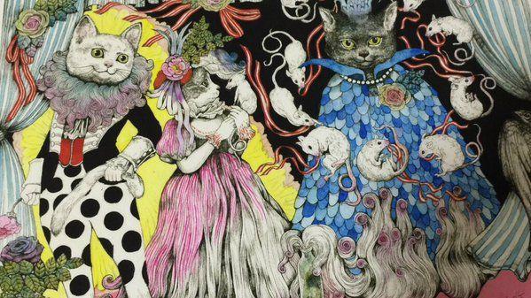 T.S エリオットの「キャッツ ポッサムおじさんの猫とつき合う法」をイメージして描いた作品です。実は舞台は観てないです。いつかみたい。 こちら複製画にしてます。梅田蔦屋書店さんでの「せかいいちのねこ原画展」にもあります。12/26〜