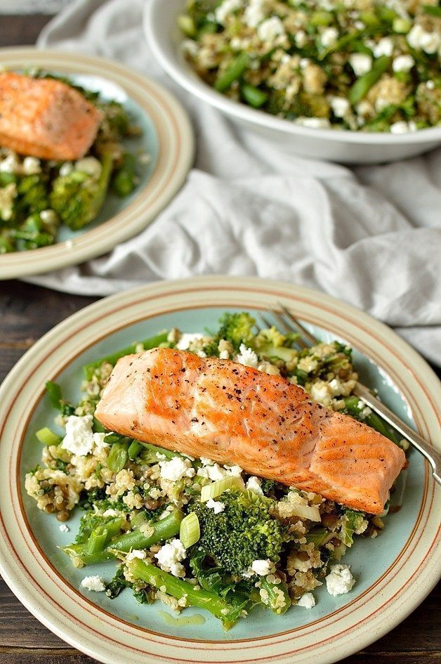 warm quinoa, green lentil, kale, broccoli and feta salad with salmon: an extremely high protein, nutritious and delicious meal.