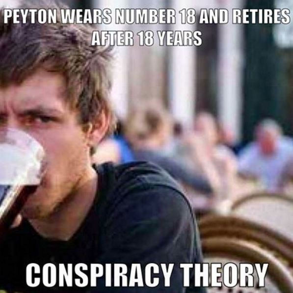With Peyton rumored to be announcing his retirement tomorrow, could it have been planned all along? #NFL #peytonmanning #peyton #fantasyfootball #football #meme #footballmeme #conspiracy