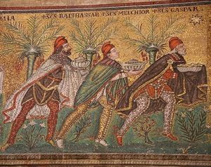 What Were the Gifts of the 3 Wise Men?: The Magi. Mosaic from a late 6th century mosaic at the Basilica of Sant'Apollinare Nuovo in Ravenna, Italy.