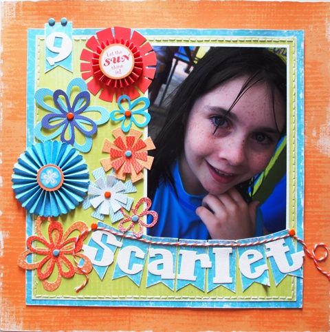 Scarlet page created with Little Yellow Bicycle, Splash collection by Teena Hopkins for My Scrappin' Shop.