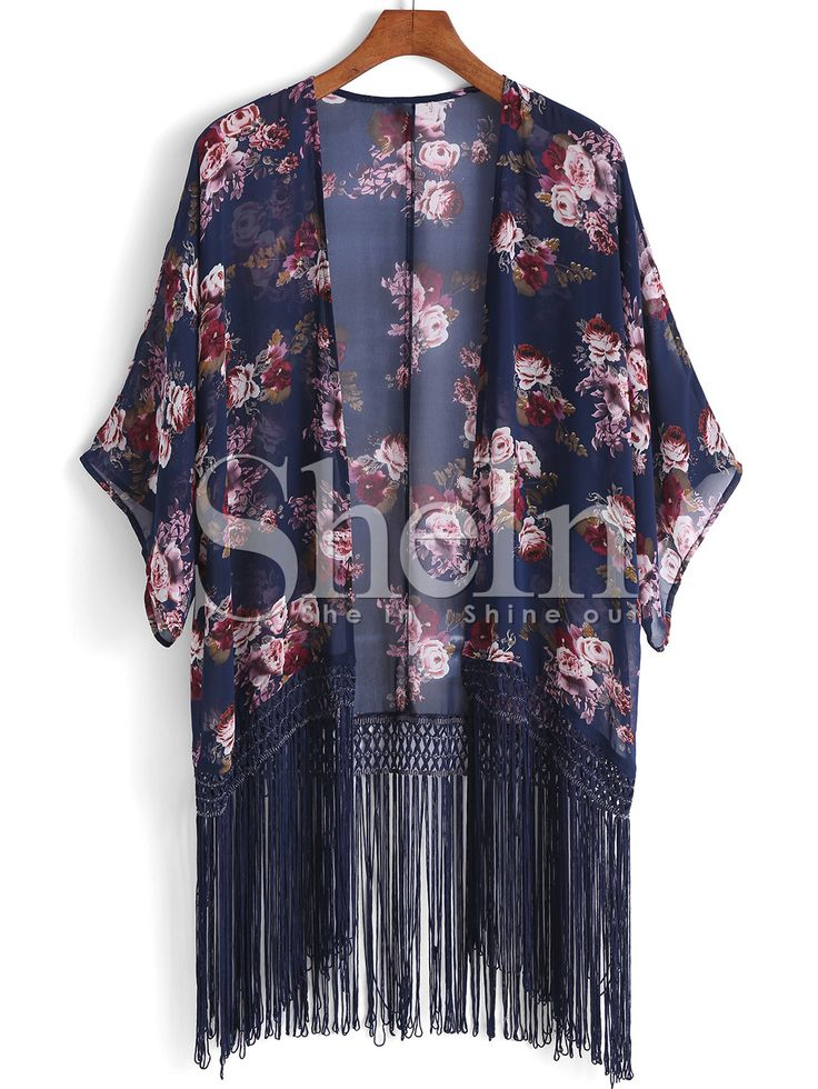 Kimono manga media flores flecos -marino 13.15