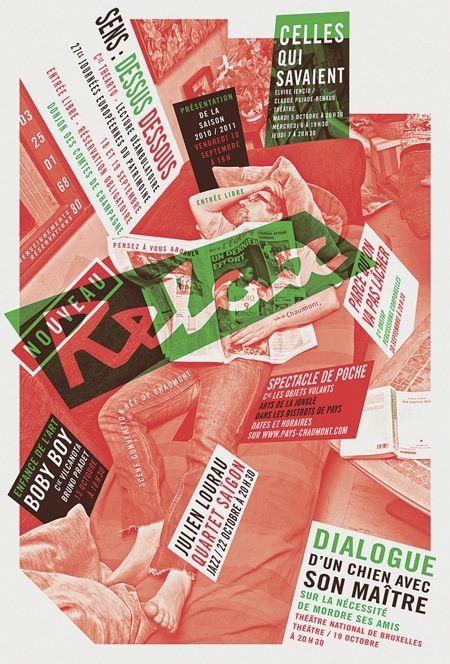 LE NOUVEAU RELAX, SCÈNE CONVENTIONNÉE DE CHAUMONT (2005-2014) 1/3  Format 120 x 80 cm – Sérigraphies 3 à 4 couleurs pour les affiches de 2005 à 2009,puis sérigraphies 1 à 2 couleurs de 2009 à 2014