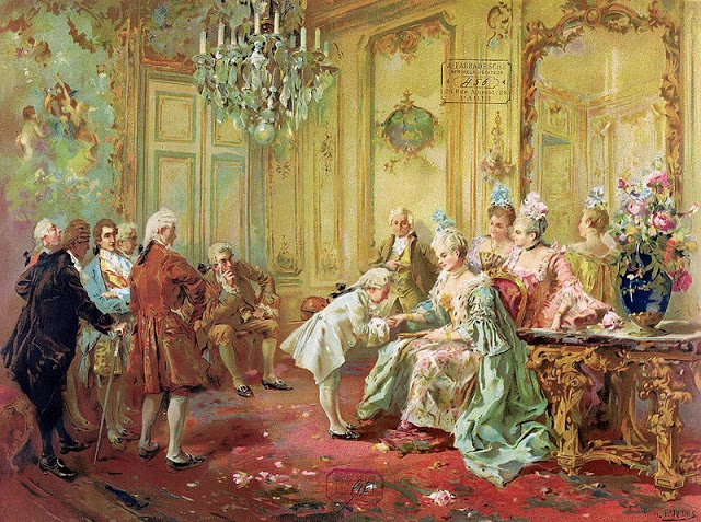 Mozart being received by Mme.de Pompadour in 1763 by Vincente de Parades,19th c