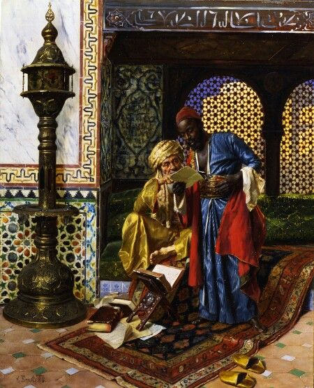 Panel painted Orientalist painter in 18th century Egypt and 19 with the utmost precision and beauty and oily dyes and fired on these paintings (the East in the eyes of the West).