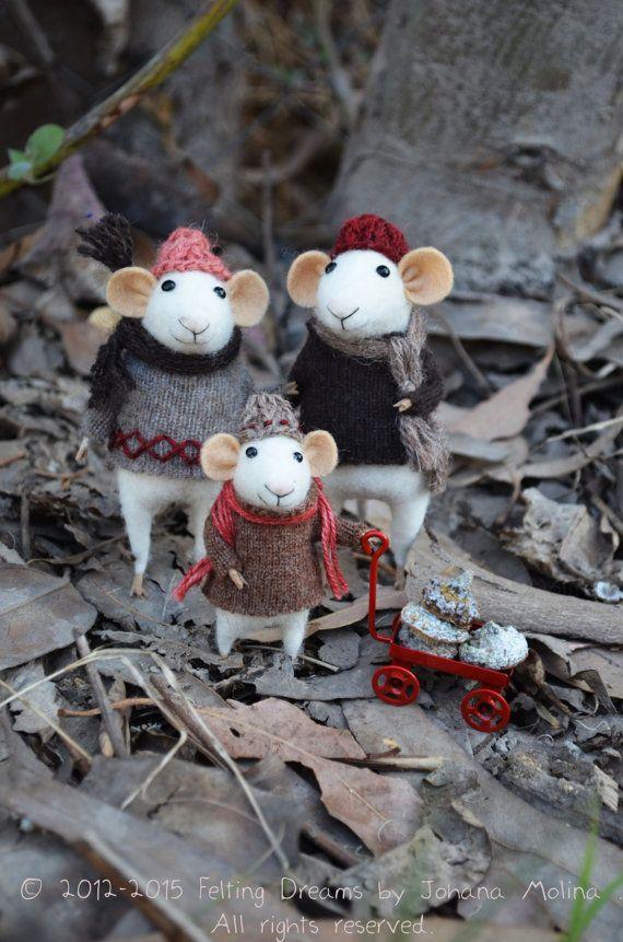 Little Family Mice AutumnWinter Seasonal Ornament by feltingdreams, $210.00