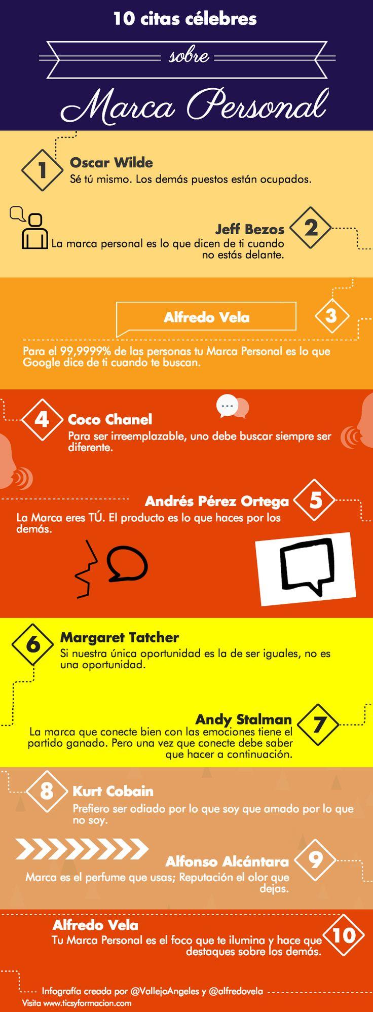 Hola: Una infografía con 10 citas célebres sobre Marca Personal. Infografía creada con Piktochart. Un saludo