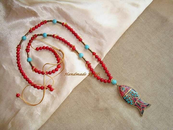 #Handmade_By_Efi #Handmade_Creations_By_Efi #HandmadeByEfi #Handmade #creation #Jewelry #Necklace #Fish #leather #hοwlite #hematite #crystals #red #Woman #New #Boho