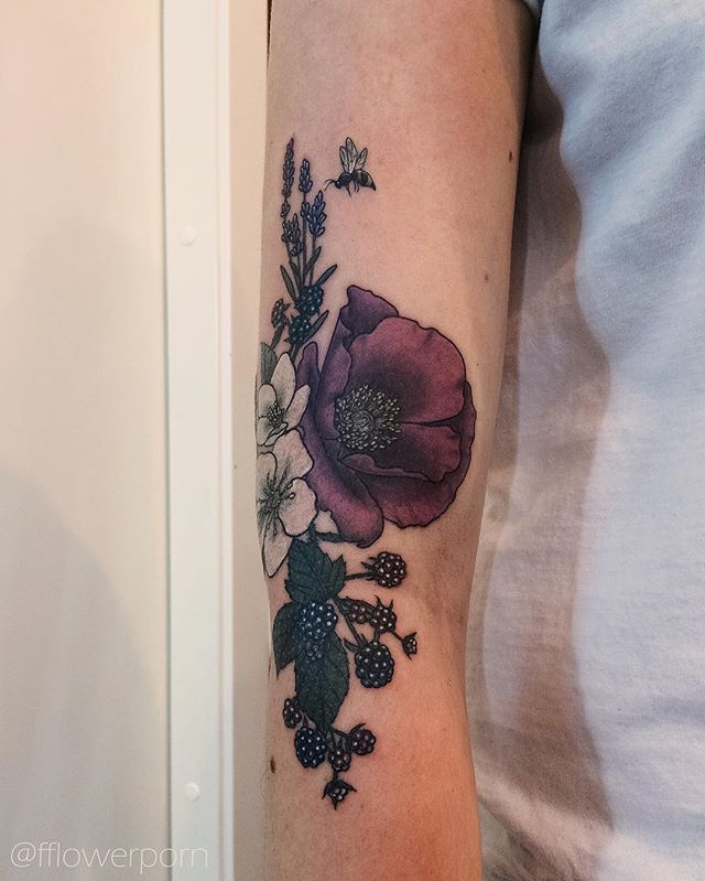Poppy, hellebores, blackberry, lavender and a tiny bee