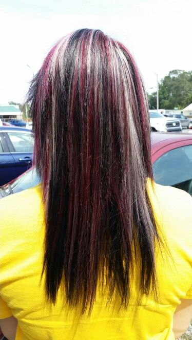 Red, black, and blonde hair