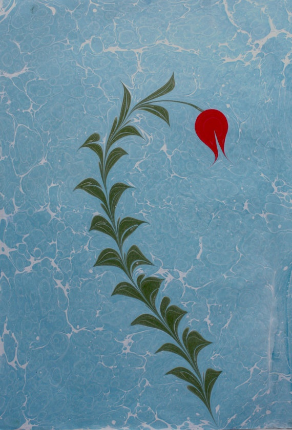 "HandmadeTraditional Turkish Art of Marbling Paper - ""Ebru"" - Blue Background - Red Tulip -Original Marbled Paper"