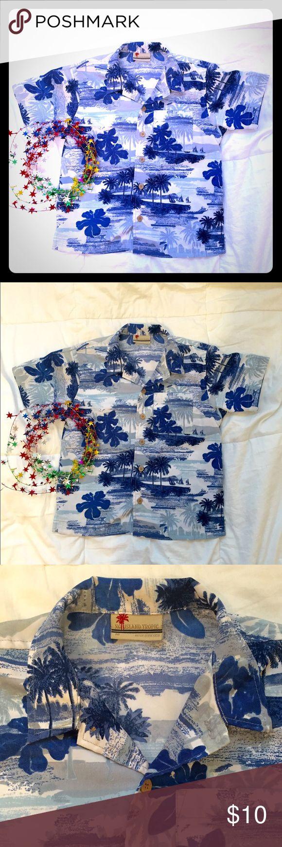 Boys Hawaiian Shirt Super cute Boys Hawaiian Shirt   Size Medium. I believe its a size 6/7. This is based on when my son wore it.  Great fir Hawaiian themed parties or a fun dress shirt.  Collared button down shirt. Shirts & Tops Button Down Shirts
