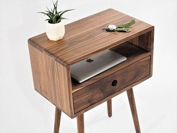 Mid Century Nightstand With Drawer Night Stand Bed Side Mid Century Nightstand Furniture Mid Century Furniture