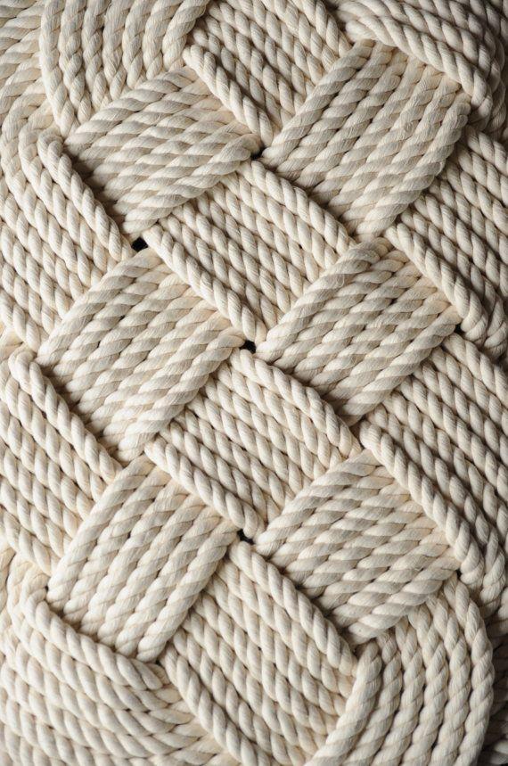 Nautical Bath Mat Nautical Decor Cotton Rope Rug by OYKNOT, $100.00