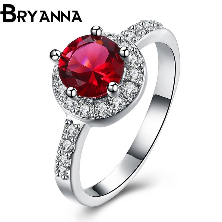 Bryanna New Trendy cute wedding rings for women fashion jewelry 925 stamp Red zircon stone silver Plated engagement ring R4292