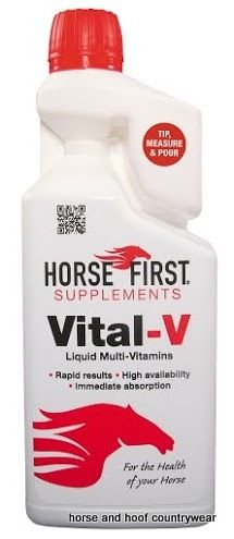 Horse First Vital-V Vital-V will provide your horse with the correct major vitamin quantities in an easy absorbent solution creating immediate results.