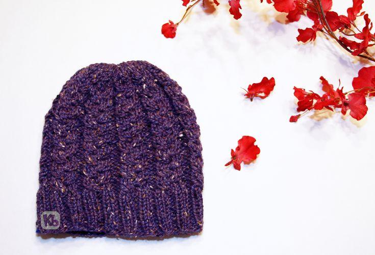 Tweed Beanie hat knitting loom pattern, all in one loom
