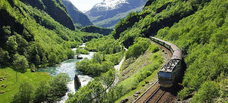 The Flåm Railway on its way from Myrdal down to Flåm, Norway - Photo: Terje Rakke/Nordic Life AS/Fjord Norway