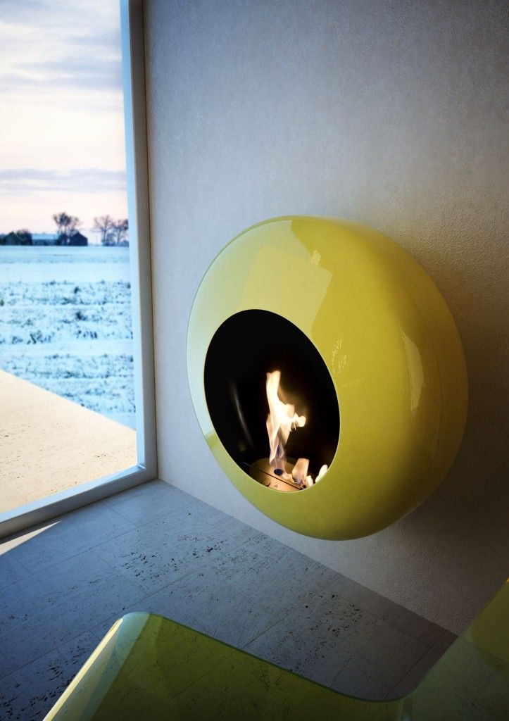 Bioethanol Wall-Mounted carbon steel Fireplace BB by ANTRAX IT | Design Andrea Crosetta (2011)