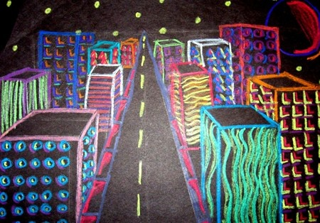 one point perspective city - i do a project like this already but i like the use of black paper and bright colors - fun idea
