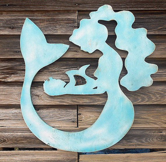 Mermaid+&+Baby+Silhouette+SIGN+LARGE++Beach+by+AmericanaSigns,+$84.00