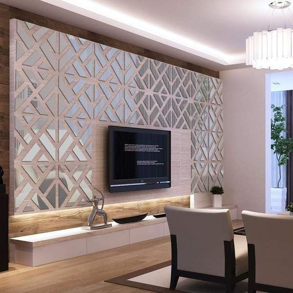 Tac City Goods Co Mirrored Chevron Print Wall Decoration In 2020 Wall Stickers Bedroom Decorative Wall Tiles Wall Tiles Living Room