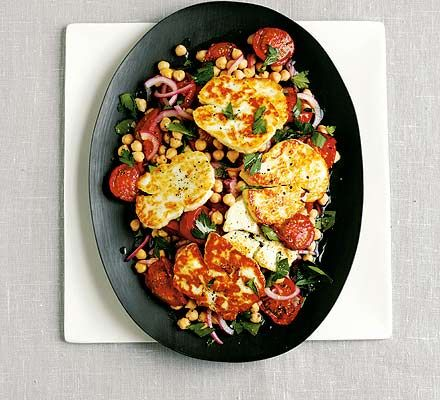 16 best all things halloumi images on pinterest vegan recipes roasted tomato chickpea halloumi salad recipe with 7 ingredients forumfinder Gallery