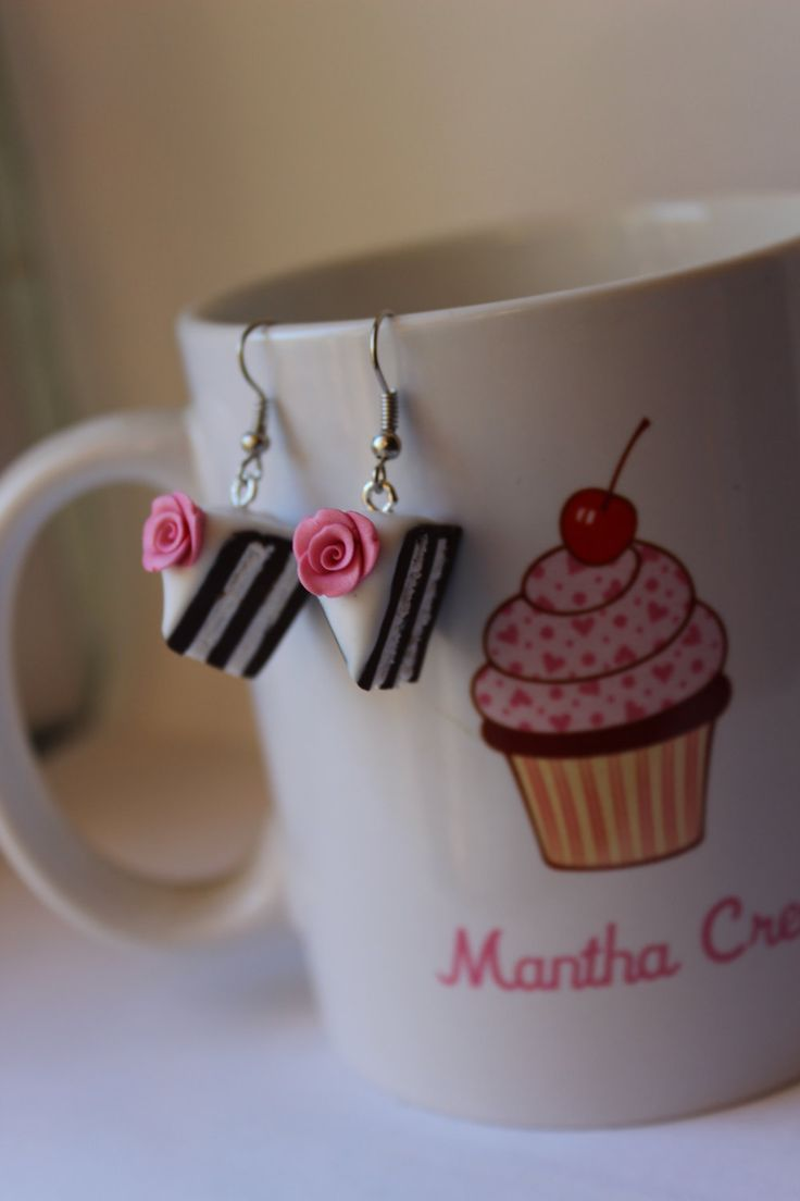 Romantic chocolate cake slice with roses and white cream miniature wearable food - cake earrings - handmade - polymer clay by ManthaCreaMiniatures on Etsy