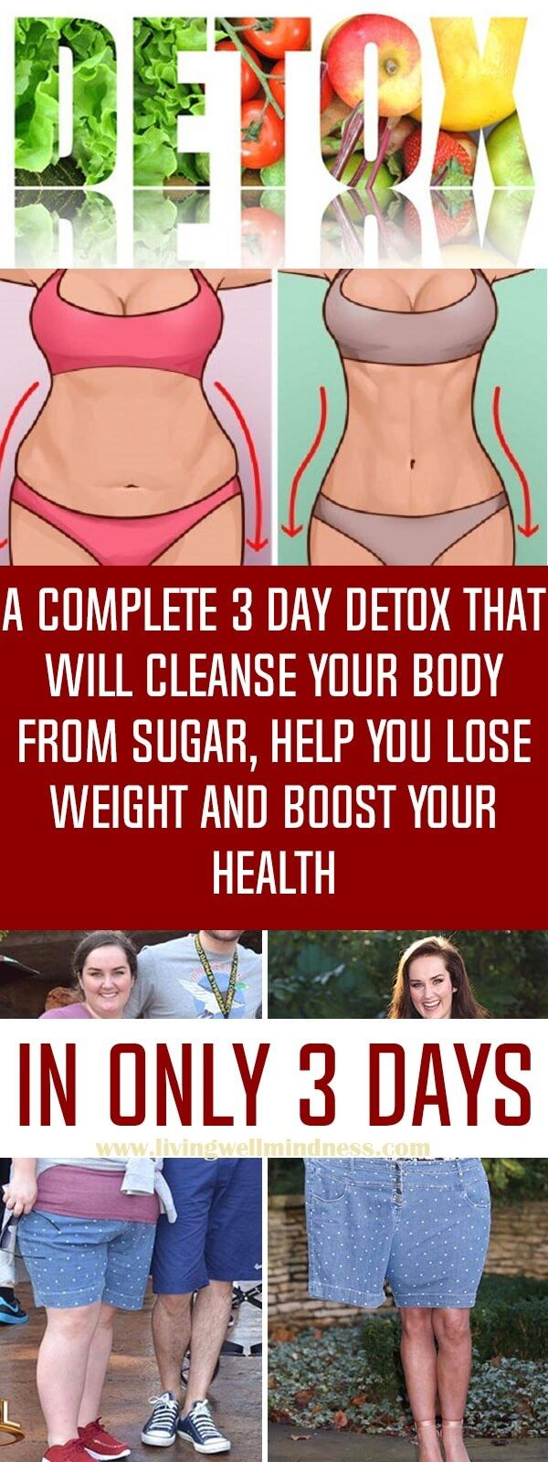 A Complete 3 Day Detox That Will Cleanse Your Body From Sugar, Help You Lose Weight And Boost Your Health - Living Wellmindness