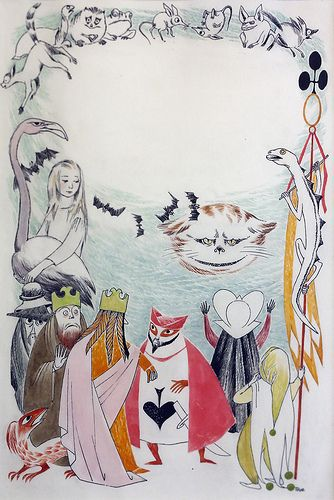 Tove Jansson's illustrations for the finnish edition of Alice in Wonderland. In an exhibition of her work at the Centre Belge de la Bande Dessinée.
