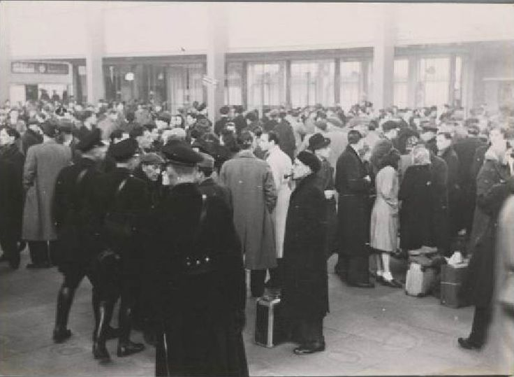 1942. Jews who were assigned to forced labor in national labor camps gather at the entrance of the Amstel Station in Amsterdam. The national labor camps were originally established for unemployed Dutch laborers, but in 1942 they we also used to accommodate Jewish forced laborers. Photo Stadsarchief Amsterdam / Bart de Kok. #amsterdam #worldwar2 #1942 #AmstelStation