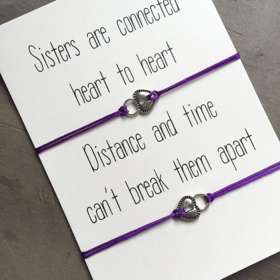 Celebrate the bond between sisters with these cute heart/lock bracelets. There is one for you and one for your sis! These matching bracelets are perfect to let you sister know how important your bond is! This listing includes 1 bracelet or a set of 2 silver heart friendship bracelets on a gift card. The bracelets are adjustable with a sliding knot. This item will arrive hand-wrapped and ready for gifting. The single sided gift card is made from luxurious linen structured 300 gsm 100% ...