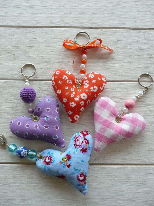 fabric keychain hearts