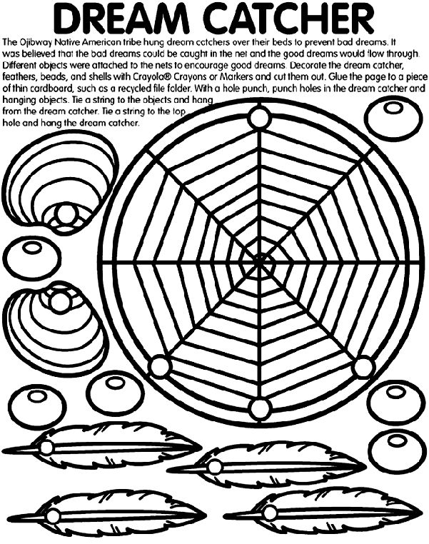 1. Use Crayola® crayons, colored pencils, or markers to decorate the dream catcher, feathers, beads, and shells.   2. Glue the page to a thin piece of cardboard. For example, try a recycled cereal box or file folder.   3. Cut each of the pictures out.  4. Ask an adult to help punch holes through the marked circles on the dream catcher and hanging objects.   5. Tie a string through the objects, and hang them from the dream catcher.  6. Tie a string through the top hole of the dream catcher…