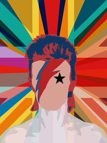 Bowie Pop Union - David Bowie Pop Art Portrait, 2016 - XL Gallery Edition - Big Fat Arts   BFA Gallery   Czar Catstick - 1 I like the use of colour in this image and how it stands out
