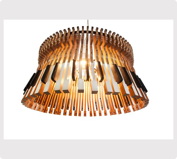 Pendant light made from old piano keys | Ici et Là                                                                                                                                                      More