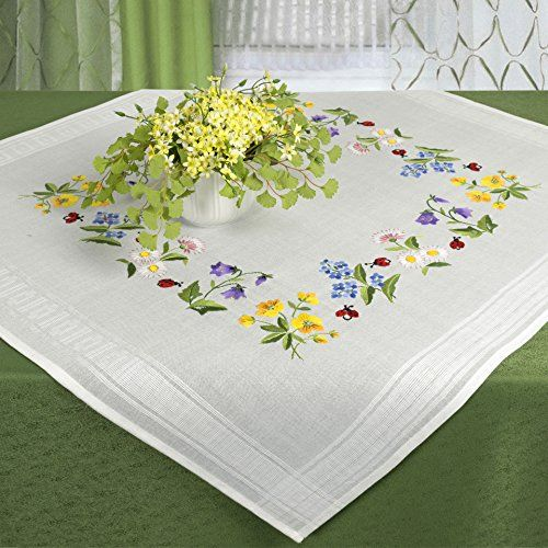 Our modern tablecloth / table runner embroidery kits contain:base fabric with pre-printed pattern (washes off)a complex embroidery pattern100% cotton embroidery threadand a needleCare instructionshand...