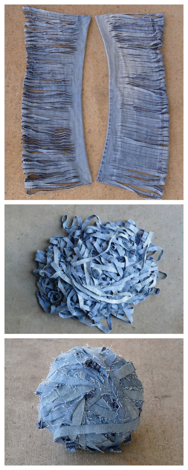DIY Denim Yarn Tutorial from Crochetbug.Make DIY Denim Yarn out of old jeans…