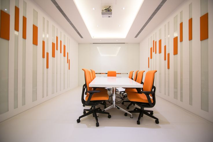 Phoenix TV in Tai Po, Hong Kong by Liquid Interiors - digital audio broadcasting department, conference room, meeting room, equalizers design, modern, cove lighting, white and orange