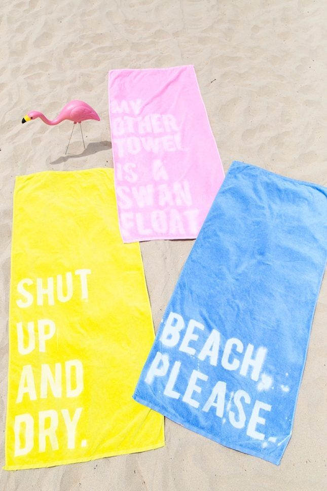 Pick up a set of inexpensive beach towels + amp them up with some seriously fun, beachy puns.